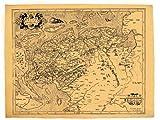 West Friesland um 1592: Antike Weltkartenreproduktion auf Pergamentpapier