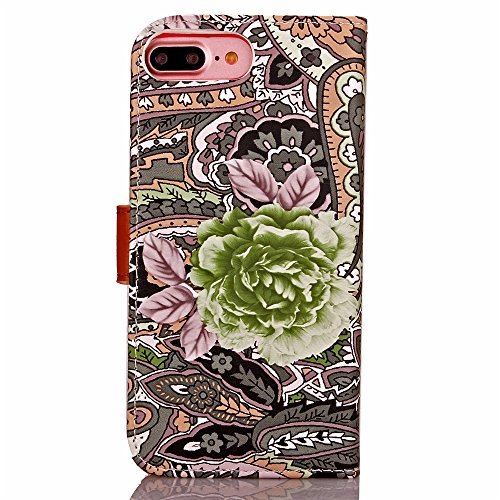 Vandot 3 in1 Sottile Classico Protector Custodia in Pelle per iphone 7 Plus Flip Case Luccichio Caso Shell Bling Book Magnete Snap-on Stile + Rhinestones Crown Corona Modello Anti-Dust Spina + Cavo Mi Design 2