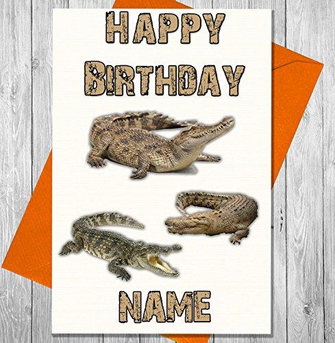 Krokodil Personalisierte Geburtstagskarte–Jeder Name und Alter (Alligator Botschaft)