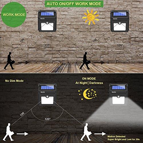 BAXiA Luz Solar Jardín, Luces Solares LED Exterior Impermeable, Focos LED Exterior Solares con Sensor de Movimiento, Lámparas Solares para Jardín Muros Exteriore Patios Terrazas, 4 Piezas