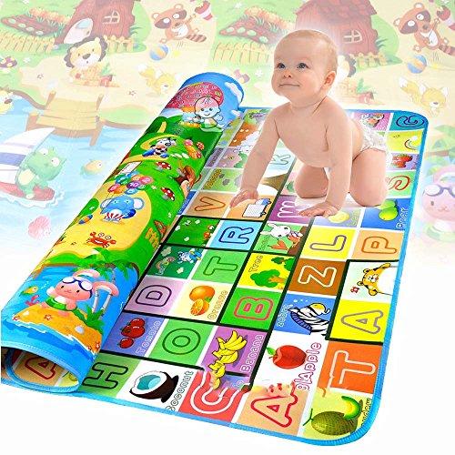 EMOTREE 200x180cm Baby / Kinder Spieldecke Krabbeldecke Spielmatte Spielteppich Bauernhof + Wörte