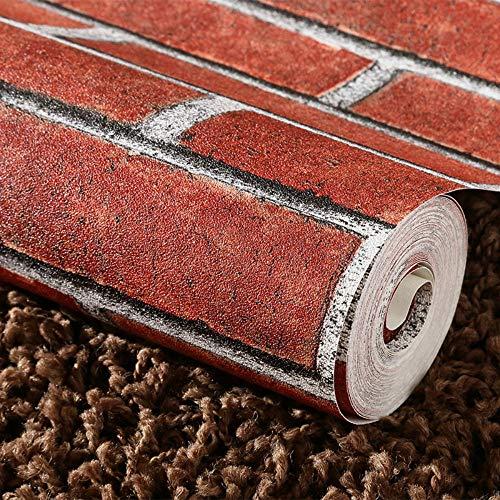 QIANGZHIS 3D Ziegel Tapete decor Tapeten Wandtapete Fototapete Pvc Wasserdicht Selbstklebend Ziegelimitat Wohnzimmer Kratzfest Verschleißfest 053 M * 5 M Rot