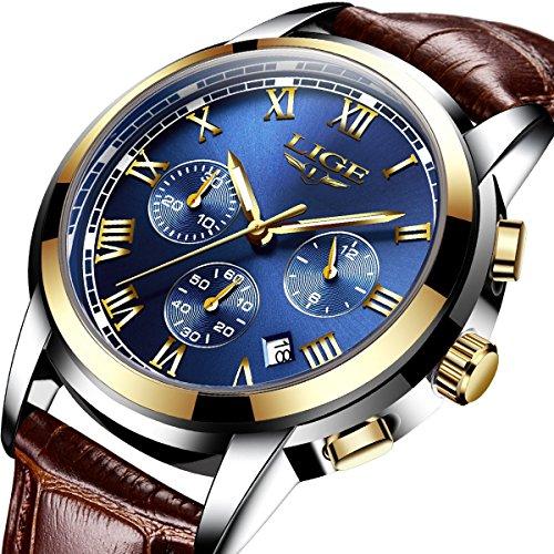 montres, montres tendance décontractées pour Homme Bracelet en cuir Marron pour homme avec chronographe étanche montre de sport à quartz bleu avec la date