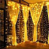 Meamae care Catene Luminose 3M x 3M 300 Luci di Natale esterno e interno a 8 Modalità, Tenda Luminosa esterno Impermeabile IP44 per decorare casa, cortile, giardino, matrimoni e Natale (luce calda)