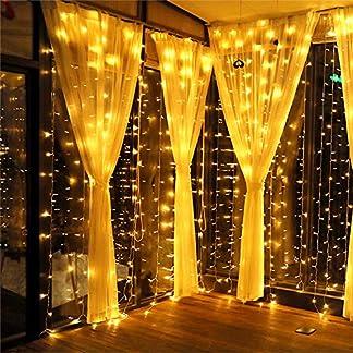 MeaMae Care Luces de cortina 3m x 3m 300 string 8 modos de iluminación USB cortina de luz con control remoto para boda, fiesta, Navidad,blanco cálido [Clase de eficiencia energética A +++]