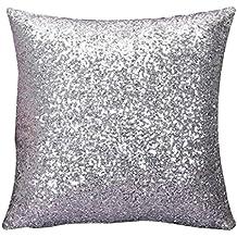 Sannysis® Fundas de cojines - Coche impreso floral Funda de almohada Sofá decorativo (Plata)