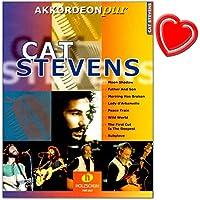 Cat Stevens Accordéon pur–offre spécial Arrangements dans le moyennes Difficulté–Notes avec cœur Note colorée Pince