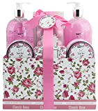 BRUBAKER Cosmetics Bade- und Dusch Set Rosen Duft - 13-teiliges Beauty Geschenkset in Vintage Geschenkbox