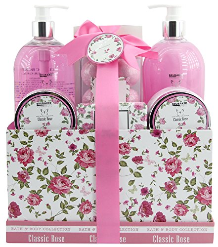 BRUBAKER Cosmetics Bade- und Dusch Set Rosen Duft - 13-teiliges Beauty Geschenkset in Vintage Geschenkbox -