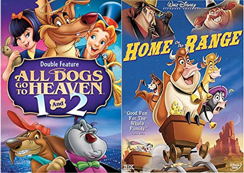 Patch of Heaven Disney Home on Range Music Cartoon + All Dogs Part 1 & 2 Cartoon Movie DVD Animated Double Feature Set Bundle -