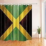 Rrfwq Weinlese-Jamaika-Flagge auf Schmutz-Holzverkleidung-Duschvorhang 70.8X70.8 Zoll Mehltau-beständiges Polyester-Gewebe-Badezimmer-fantastische Dekorations-Bad-Vorhang-Haken eingeschlossen