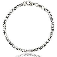 ViMon gioielli| Bracciale snake etnico da uomo, catena maglia bizantina, in argento 925 nero anticato. Spessore 3 mm…