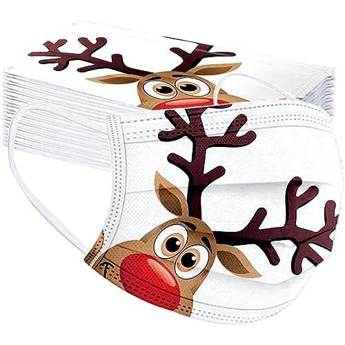 Geilisungren Unisex Adulto 50 pezzi Copertura monouso 3 strati Traspirante Natale Cartoon Babbo Natale Pupazzo di neve Fiocco di neve Stampato Bandane