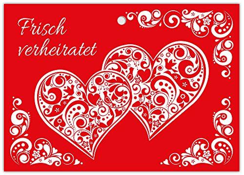 25 gelochte Ballonflugkarten Hochzeit für Wünsche an Brautpaar liebevolle extra leichte Ballonkarten für weiten Flug zwei Herzen rot Nr. 7