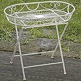 Ovaler Metalltisch ROSALI creme weiß Klapptisch Eisen Tabletttisch Beistelltisch
