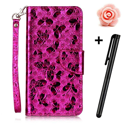 iPhone 6 Leder Hülle,iPhone 6s Glitzer Case,TOYYM Ultra Dünn Laser Muster Design Bling PU Leder Flip Cover Wallet Case mit Stand Funktion Karteninhaber Magnetverschluss,Folio Bookstyle Brieftasche Han Rose Rot