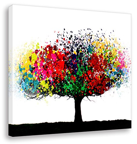 Kunstbruder Leinwandbild Bunter Baum - Light (Div. Grössen) - Kunstdruck auf Leinwand/Banksy Wandbild Streetart Bild 110x110cm -
