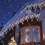 200er LED 5m Eisregen Lichterkette Lichtervorhang Eiszapfen Außen Innen Deko für Garten Party Hochzeit Strombetrieben mit Stecker Gresonic (Kaltweiß, Timer)