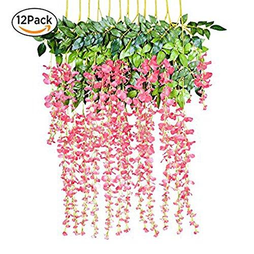 ünstliche Glyzinien, Heimdekoration, jeder Strang ist 110 cm lang, aus Seide, für Hochzeiten, zu Hause, Garten, Party, 12 Stück (Rosa) (Außen Haus Dekor)