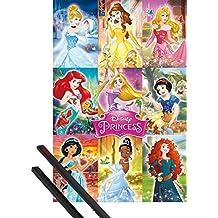 Póster + Soporte: Princesas Disney Póster (91x61 cm) Collage Y 1 Lote De 2 Varillas Negras 1art1®