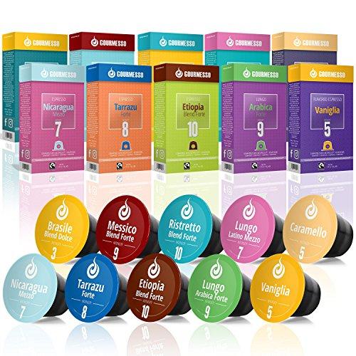 Gourmesso Testbox – 100 Nespresso kompatible Kaffeekapseln – 100{8ab5c77aedbc329eb2cab9153108425980c1ff08daa938fe66d2877b54277025} Fairtrade – 10 verschiedene Sorten in der praktischen Probierbox