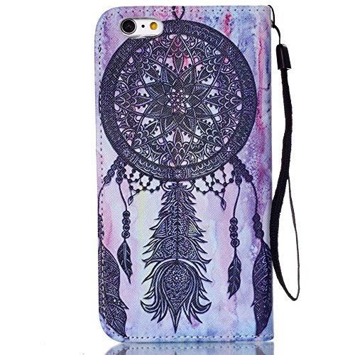 iPhone 6S Hülle Leder,iPhone 6 Hülle,iPhone 6 6S Kunstleder Flip Case Schutzhülle,EMAXELERS Bunte Owl Muster Painted PU Leder Wallet Case Flip Cover für iPhone 6S,iPhone 6 Hülle Leder im Bookstyle Han Angel Girl 4