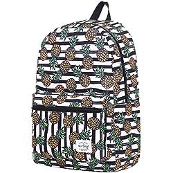 TRENDMAX Mochila Escolar con Estampado Moda   42,5x29x13cm   para portátil 15 Pulgadas   Piña y Rayas