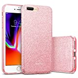 ESR Coque pour iPhone 8 Plus, Coque Silicone Paillette Strass Brillante Glitter de Luxe, Bumper Housse Etui de Protection [Anti Choc] pour Apple iPhone 7 Plus/8 Plus (Or Rose Pailleté)