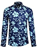 APTRO Hemd Herren Baumwolle Hemd Langarm Hemd Blumen Mehrfarbig Shirt 1029 L