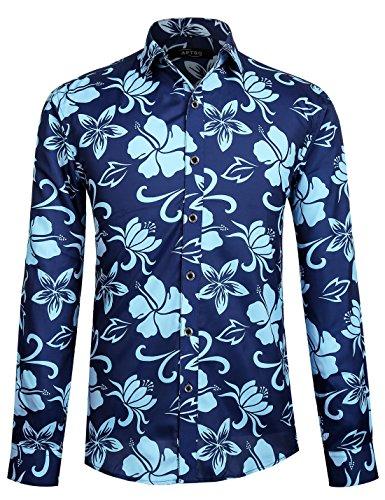 APTRO Hemd Herren Baumwolle Hemd Langarm Hemd Blumen Mehrfarbig Shirt 1029 L (60er Jahre Herren)