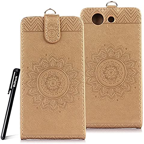 Case for SONY Xperia Z3 Compact wallet Embossed Flowers case,SONY Xperia Z3 Compact Ceramic pattern flip cover,BtDuck protective case Earthly gold shell Retro Buddhism Solid color special Chinese Style skin Case for Open vertically Holster Full-body protection machine Totem Anti-scratch Shock Resistant Strong magnetic buckle Magnet Closure [with Lanyard Strap / Rope] Credit Card/Cash Holder Slot - Tuhao Gold angel's trumpet