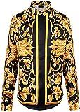 Pizoff Herren Luxus Palace Still Fashion Hemden mit Pflanze Blumen Medusa Y1706-10-M