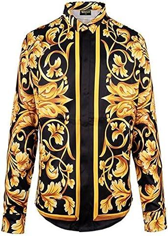 Pizoff Spring Autumn Mens Long Sleeve Luxury Design Print Dress Shirt Y1706-10-2XL