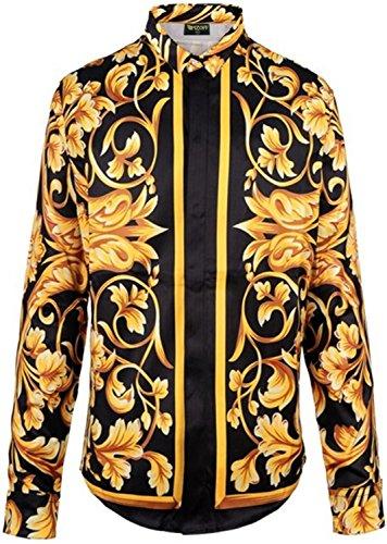 Pizoff Herren Luxus Palace Still Fashion Hemden mit Pflanze Blumen Medusa Y1706-10-S Pflanze Kragen