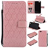 BONROY Oppo R9s Case, Oppo R9s Leather Wallet Case Embossing Pattern Design Leather Flip BookStyle Phone Cover Magnetic Folio Wallet Bag Case Cover for Oppo R9s-(Rattan flowers-rose gold)