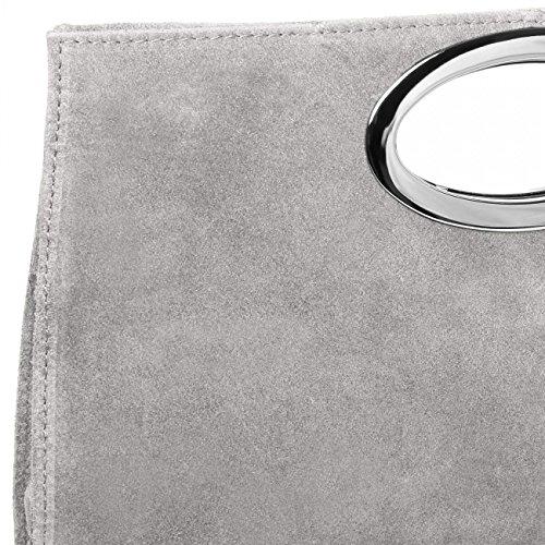 CASPAR TL699 Donna Pochette di Pelle Scamosciata con Manico in Metallo Grigio chiaro