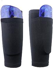 QEES Shin Pad Socken Schwarz Fußball Wadenärmel mit Pocket Can Halten Shin Pads-leicht zu entfernen, Abriebfestigkeit Komfort Atmungsaktiv für Den Anfänger oder Elite Athlet WZ10