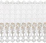 Plauener Spitze by Modespitze, Store Bistro Gardine Scheibengardine mit Stangendurchzug, hochwertige Stickerei, Höhe 62 cm, Breite 96 cm, Creme/Beige/Lachs