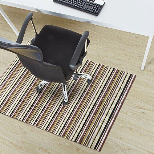 casa pura Asti Brown Striped Protective Floor Mat | Hard Floors or Low Pile Carpets | 90x120cm | 6 Sizes