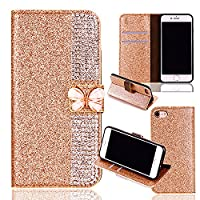 iPhone 6S Plus Leather Case,iPhone 6 Plus Flip Wallet Case,iPhone 6S Plus/ 6 Plus Cover with 5.5 inch,Cool 3D Butterfly Bling Glitter Diamond Pattern Leather Stand Function Flip Kickstand Magnetic Book Wallet with Card Slot Holder Protective Cover Case fo