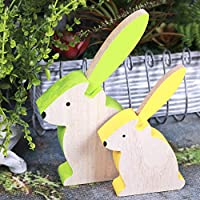 Wood Deco Figurine for Easter and Garden Product size: 20 * 12.5 * 3 cm / 9.5 * 2.5 * 14.8 cm Removable Easter bunny deco, table decoration, garden decor with painting You can put wood decoration on the table or on the window for your Easter ...