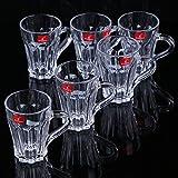 Blue Birds Blinkmax Tea,Coffee Cup Glass Mug Set Of 6 (140ml)