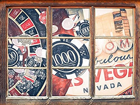 Las Vegas Casino Roulette effet de crayon d'art Fenêtre en 3D look, mur ou format vignette de la porte: 92x62cm, stickers muraux, sticker mural, décoration murale