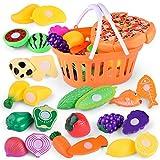 DaoRier 24-teilig Kinder Spielzeug Simulation Obst und Gemüse Spielzeug Küchenspielzeug Lernspielzeug für Kinder,1 Satz