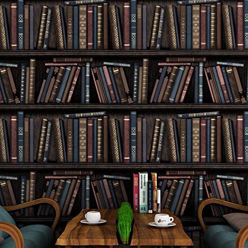 CNMDGBWY Persönlichkeit Bücherregal Braunen Tapeten Retro Wand Effekt Wallpaper Wohnzimmer Studie Hintergrund 3D Wallpaper 53Cmx9.5M Braunes Bücherregal