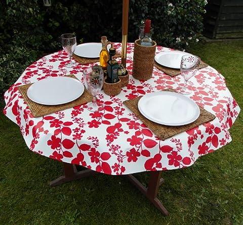 139,7cm (1,4) Nappe ronde en PVC/vinyle–Fleur Rouge sur Blanc avec trou parasol