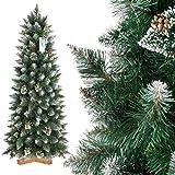 FairyTrees Albero di Natale Artificiale Slim, Pino innevato Bianco Naturale, Materiale PVC, Vere pigne, incl. Supporto in Legno, 150cm