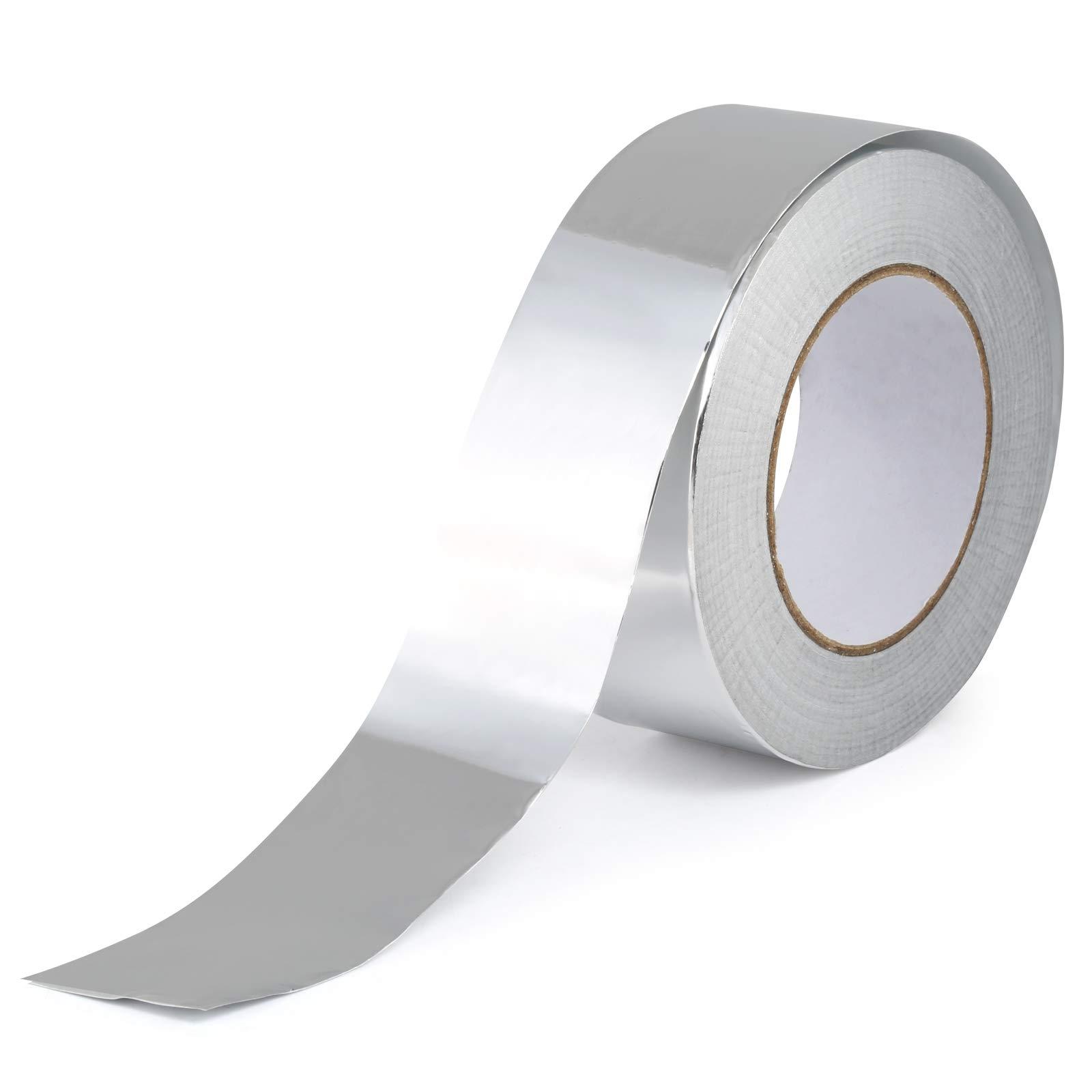 GWHOLE Cinta Adhesiva de Aluminio, Cinta Conductora de Aluminio Resistentes a Alta Temperatura para Reparación de HVAC, Ductos, Aislamientos, Secadores, y manualidades, Rollo 50mm x 50m