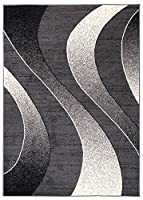 """Area Rugs For Living Room Bedroom Dark Grey Modern Waves Pattern Size S - XXL 220 x 300 cm (7ft3"""" x 9ft11"""") by TAPISO RUGS UK"""