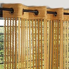 Exporthub 2 Piece Fancy Sparkling Sheer Strip Premium Net Curtains - Golden